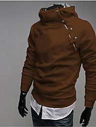 URUN Men's Fashion High Neck Long Sleeve Warm Tops (Brown)