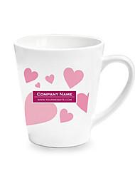 Personalizado Cone Pink Heart Pattern Branco Canecas