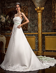LAN TING BRIDE A-line Wedding Dress - Classic & Timeless Glamorous & Dramatic Vintage Inspired Chapel Train Sweetheart Lace Satin with
