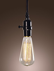 40W Minimalist Pendant Light with Black Wire Weaved Chain and Plastic Light Holder