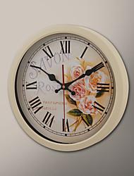 "12 ""H Savon Rose Peinture Horloge murale"