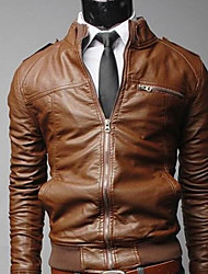 Shangdu Men's Cool Zipper Short Slimming Jacket(Brown)