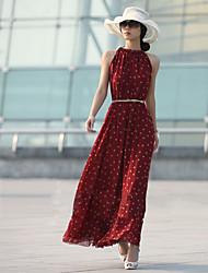 Women's Polka Dot Black/Red Dress , Beach Crew Neck Sleeveless