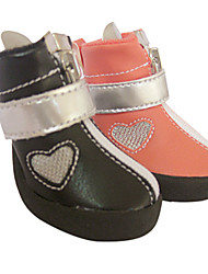 Fashion Silver Loving Heart PU Leather Magic-Taped Zipper Shoes for Pets Dogs (Assorted Colors, Sizes)