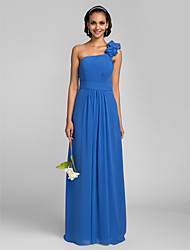 Floor-length Chiffon Bridesmaid Dress Sheath / Column One Shoulder Plus Size / Petite with Flower(s) / Side Draping