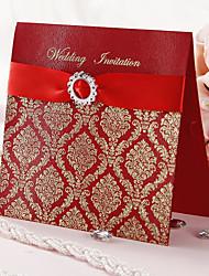 Convite de casamento com impressão Ouro e Fita vermelha - conjunto de 50