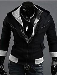 REVERIE UOMO Men's Black Color Contrast Hoodie Sweater