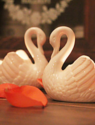 "3.5""White Swan Style Ceramic Candle Dish"
