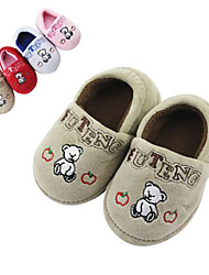 Modern Brown Happy Bear Print Infant's Moccasin Slipper