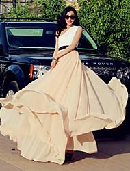 Verragee Elegant Solid Color Long Dress(Nude)