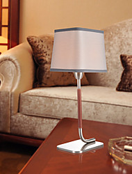 Modern Gray Textured Fabric Nicked Table Lamp