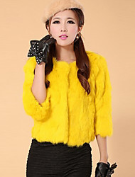 3/4 Sleeve Collarless Rex Rabbit Fur Party/Casual Jacket(More Colors)
