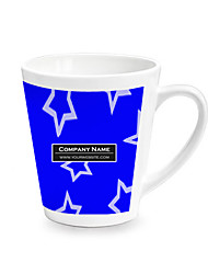 Personalized Cone Blue Star Pattern White Mugs