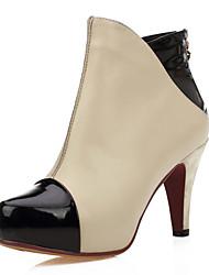 Lackleder / Leder Cone Heel Platform Ankle Boots