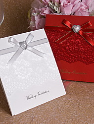 Pretty Wedding Invitation Heart Pearl and Lace - Set of 12 (More Colors)