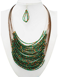 Fancy Bohemia Peacock Color Beads Statement Necklace Earrings Jewelry Set