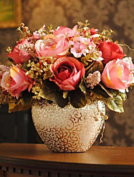 "11.5 ""Roses roses d'or arrangement avec Golden Vase en céramique"