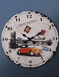 """23 """"H Carte Postale ville de NY métal Horloge murale"""
