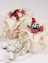 Gauze Favor Bag With Flower and Ribbon - Set of 12