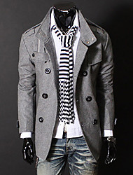 Double breasted de collier de stand Slogan Nylon Trench Coat Men