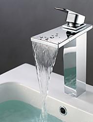 Centerset Chrome Finish Tall Waterfall Bathroom Sink Faucet