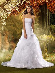 Lan Ting Trumpet/Mermaid Plus Sizes Wedding Dress - White Sweep/Brush Train Strapless Organza