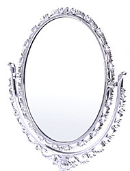 """7.25"""" Silver Oval Classic Style Double Dial Makeup Mirror"""