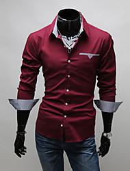 Verifique Masculina KICAI Forro patch manga comprida Magro Camisa (vinho)