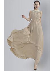 vestido de mangas encajes maxi simplicidad oro de las mujeres