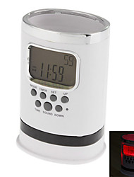"2"" Pen Case LCD Digital Alarm Clock with Thermometer, Perpetual Calendar and Snooze Function(White,3xAAA)"