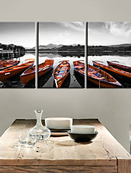 Stretched Canvas Print Art Transportation Canoe Set of 3