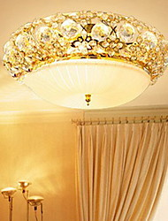lussureggianti perline di cristallo moderni montaggio a incasso a 3 luci con finitura dorata