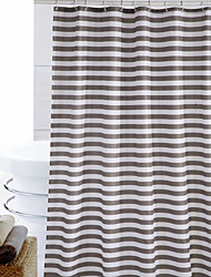 "Shower Curtain Polyester Brown Stripes Print Thick Fabric Water-Resistant W71"" x L71"""