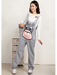 Maternity Cute Mouse Print Suspender Jumpsuits