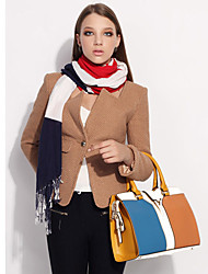 Lady Fashion Contrast Color PU Leathter Tote/Crossbody Bag