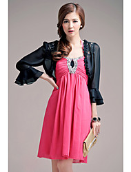 Women's Lace/Solid Black/White Asymmetrical Lace/Ruffle