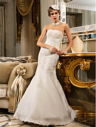 Mermaid / Trumpet Strapless Floor Length Chiffon Organza Wedding Dress with Beading Appliques Side-Draped by LAN TING BRIDE®