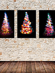 Stretched Canvas Print Art Fantastic Christmas Tree Set of 3