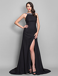 TS Couture Formal Evening Military Ball Dress - Open Back A-line Princess Scoop Sweep / Brush Train Chiffon with Pleats Split Front
