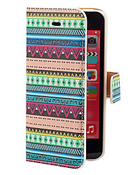 Aztec Blue Green Stripe Pattern PU Full Body Case with Card Slot and Stand for iPhone 5C