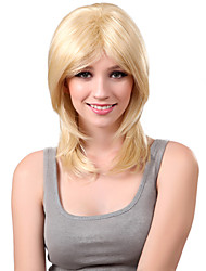 Capless Medium Stright Platinum Blonde Synthetic Wig Side Bang