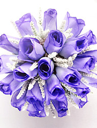 Élégant satin Forme Ronde de mariée Bouquet
