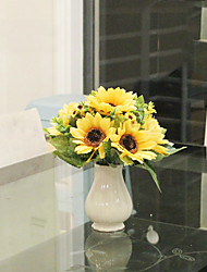 "9""Fresh Sunflowers Arrangement With White Ceramic Vase"