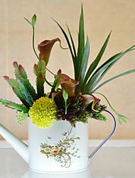 "14"" Fresh Color Hydrangeas Arrangement With Kettle Style Metal Vase"