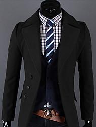 VSKA Men's Single Breast Lapel Neck Woolen Coat