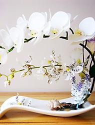 "12 ""Arranjo branco elegante da borboleta Orquídea com estilo da novidade vaso de cerâmica"
