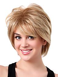 Perruque Monofilament Cheveux Synthétiques Blonds Courts à Frange