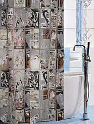 Shower Curtain Newspaper Print W78 x L71""