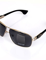 REEDOON-Sunglasses Men Rectangle Shape Gray Lens Metal Magal  Gun Frames Resin Flake Uv Protection141*41*135