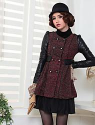 Empalme de cuero largas secciones Tweed Escudo Rojo de unifo Mostrar Mujeres